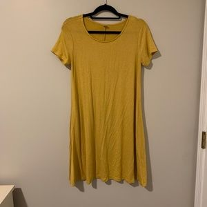 Yellow Cotton Stretch Short Sleeved Dress